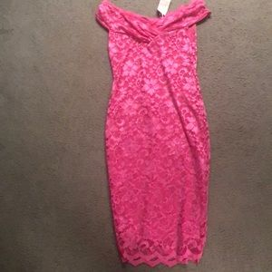 Hot pink lace bodycon romantic dress